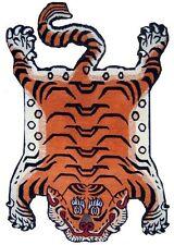 Tiger Rug Carpet 100% Silk 2ft x 3ft Tibet Nepal Small Size orange skin