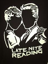 LATE NIGHT READING BAND t-shirt Size Medium Black White Short Sleeve 100% Cotton
