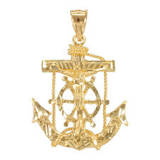 Yellow Gold Mariner Crucifix  St. Clement's Cross Anchor Pendant