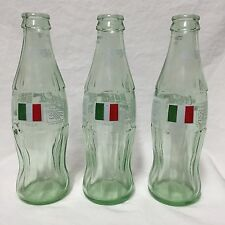 1994 World Cup Coca-Cola Bottles Lot Of 3 Italy Flag Glass Soccer Empty 8 Fl Oz