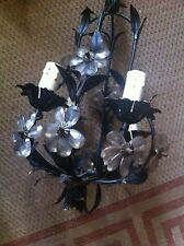 Black Metal Light Wall Hanging Chandelier Very Old Twisted imperfect Rare