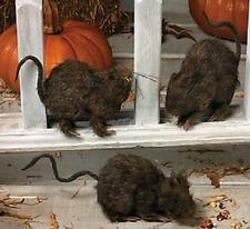 "Gross Rats Covered in Hair Halloween Decoration Realistic Hairy Rat 3-PC Set 5""L"