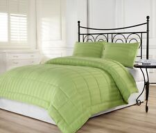 3pcs Dobby Stripe Down Alternative Lightweight Comforter Set Queen Green