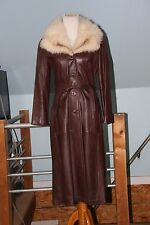 Vintage 70's Mod Brown Leather White Fox Fur collar Long Coat Belted Size 6/8