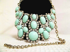 Nice Vintage Style Rhinestone & Mint Green Faux Stone Choker Fashion Necklace