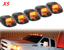 5Pcs Smoked Lens Cab Roof Marker Running Lamp Amber LED Lights For Truck 4x4 SUV