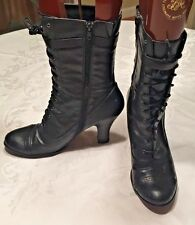 VTG Nine West Granny Boots Black Lace up Side Zip Victorian Witch Boots sz 10 M
