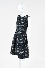 Jil Sander Navy Black Gray Ombre Woolen Applique Pleated Sleeveless Dress SZ 38