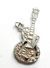 Vintage 1970's Sterling Silver XL PATTERNED MUSIC GUITAR Charm Pendant 5.5g