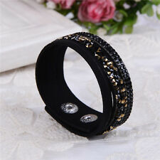 ELEGANT LEATHER Slake BRACELET MADE WITH SWAROVSKI CRYSTALS - BLACK