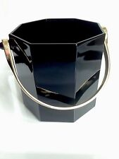 Vintage Arcoroc France Octagonal Black Glass Ice Bucket Gold Tone Handle OCTIME