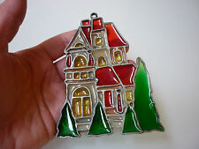Vintage Christmas Tree Ornament House Scenic Metal Polymer -Stained Glass Effect