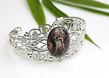 Fire Agate Stone Bracelet ~ Filigree Silver Plated Bangle ~ Dark Brown Cabochon