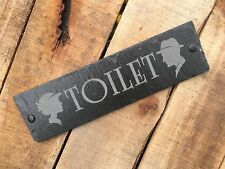 Vintage Toilet Unisex Ladies Gents Engraved Slate Home Door Sign Plaque Gift