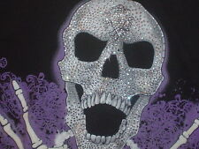Silver Sequined SKULL skeleton hands purple design on black 2XL t shirt