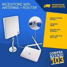 ANTENNA RICEVITORE + ROUTER WIFI ESTERNO 36DBI 2000MV CAVO 10M USB AMPLIFICATORE