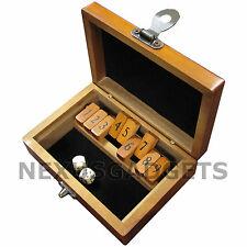 Shut the Box Board Game Set Wood Wooden Number Drinking Games Dice VINTAGE -MINI