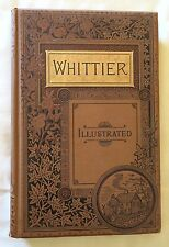 ANTIQUE BOOK -WHITTIER POEMS- GILT DECORATED AESTHETIC VICTORIAN COVER & ART