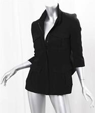 MARNA STRUCTURE JACKET W POCKETS Womens Black Short Sleeve Zip-Up Fitted XS NEW