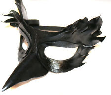 Black Bird Mask Handmade Leather Venetian Masquerade black