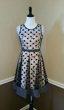 Modcloth Ryu Mingle You Out Dress S Black Dot Floral Flare Party Cocktail Retro