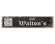 SPFN0414 The WALTON'S Family Name Street Chic Sign Home Decor Gift Ideas
