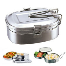 2 Layers Food Container Stainless Steel Student Oval Case Bento Lunch Box Large