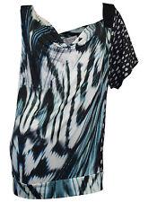 Zucchero Shirt Gr. 44 schwarz weiß türkis Muster Longshirt Wasserfall