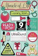 KAREN FOSTER DESIGN COMING SOON NEW BABY PREGNANCY CARDSTOCK SCRAPBOOK STICKERS