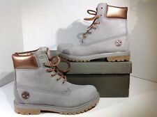 """MIS-MATES Timberland Mens Size L 7.5 / R 7 6"""" Premium Gray Leather Boots ZJ-423"""