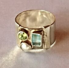 Vtg Modernist Sterling silver 925 Aquamarine Turmaline Tube Cigar Wide Band Ring
