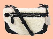 COACH 36490 RHYDER Natural/Black In Shearling/Leather Pochette X-Body Bag $195