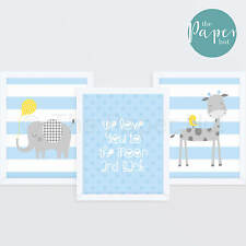 "Boy's Nursery Art Print Blue & Grey 8""x10"" Three Pack 