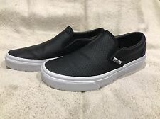 AUTHENTIC Women's Vans Classic Slip-On In Black Perforated Leather Size 7.5 EUC