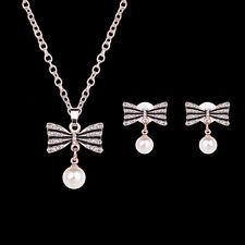 1Set Women Bowknot Imitation Pearl Necklace Earrings Jewelry Sets Accessories