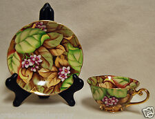 Stunning Occupied Japan Porcelain Tea Cup and Saucer Pink & Gold Flowers Leaves