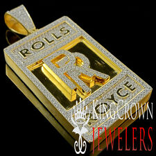 Real Yellow Gold Sterling Silver Lab Diamond Luxury Car Logo RR Pendant 2.65''
