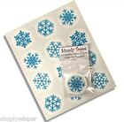 24 Blue Snowflake Christmas Cupcake Decoration Cake Toppers Frozen Xmas Cut 40mm