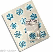 12 Blue Snowflake Christmas Cupcake Decoration Cake Toppers Frozen Xmas Cut 40mm