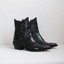 Zara Leder Woman Stiefeletten schwarz 36 Cowboystiefel Stiefel