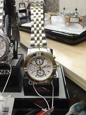 Ladies Citizen Quartz FA1044-51A Chronograph Swarovski Crystal TwoTone Watch-H11