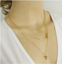 New 3 Layer Hollow Triangle Metal Bar Coin Multilayer Statement Chain Necklace.