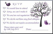 Confezione da 20 RSVP WEDDING CARDS con Buste-Viola Albero & Love Birds Design