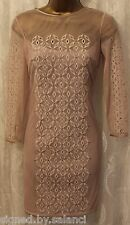 Karen Millen Embellished Mesh Lace CutWork Sleeve Pencil Party Shift Dress 10 38