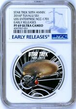 2016 Star Trek 50th Ann. U.S.S. Enterprise NCC-1701 Silver $1 Coin NGC PF69