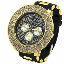 Mens Gold Black Iced out Hip Hop Fashion Silicone Quartz Wrist Watch Geneva 4L
