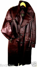 Crown Vintage Leather Iconic 50s Double Breasted Peacoat Brown Size 44 USA