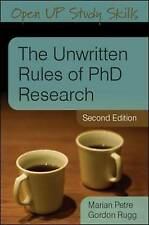 The Unwritten Rules of PhD Research (Open Up Study Skills), Good Condition Book,