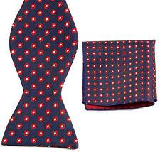 BN074 Blue Red Flower Men's Self Bow Tie Wedding Party Bowtie + Handkerchief