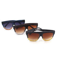 Fashion Flat Top Sunglasses Women Men Metal Reflective Lens Mirror  Black +Brown